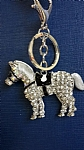 Horse Keyring - Silver with Diamonte Crystals