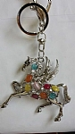 Pegasus Keyring - Silver with Coloured Stones