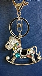 Rocking Horse Keyring - Diamonte and Coloured Crystals