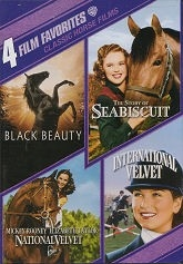 4 FILM FAVOURITES: Black Beauty, National Velvet, International Velvet, The Story of Seabiscuit - DVD Region 1