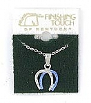 Two-Tone Double Horseshoe Pendant - Sapphire on Imitation Rhodium Finish - Rhodium Finish Necklace