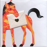 Gianni - Orange, yellow and black horse - Greeting Card
