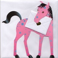 Dream - Pink, blue and black horse - Greeting Card