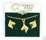 Horse Head with Reins Gift Set - Earring & Necklace - Gold Finish