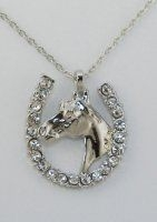 Horsehead in Horseshoe with Stones Pendant - Imitation Rhodium Finish with necklace